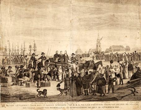 Het landingsstrand in 1813
